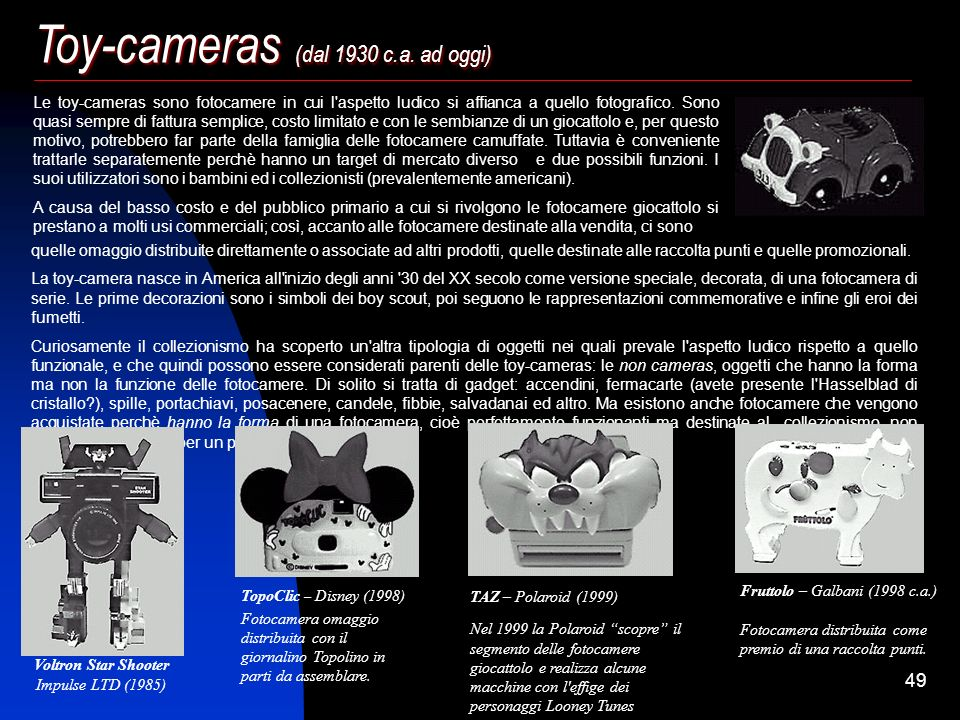 48 Le fotocamere camuffate e le microcamere Alla fine dell'800 dilaga nel mondo anglosassone la moda degli investigatori privati: sono gli anni in cui