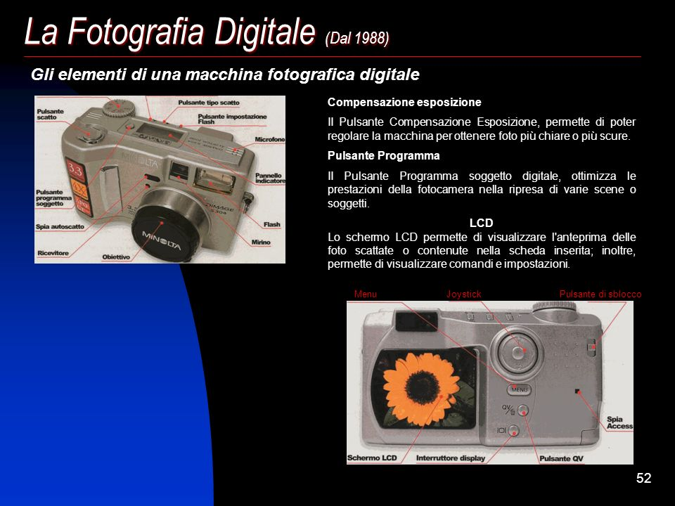 51 La Fotografia Digitale (Dal 1988) La risoluzione Sostanzialmente la pellicola chimica ha ancora più punti e, quindi, una risoluzione migliore di un