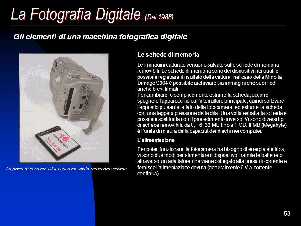 52 La Fotografia Digitale (Dal 1988) Gli elementi di una macchina fotografica digitale Pulsante di sbloccoJoystickMenu Compensazione esposizione II Pu