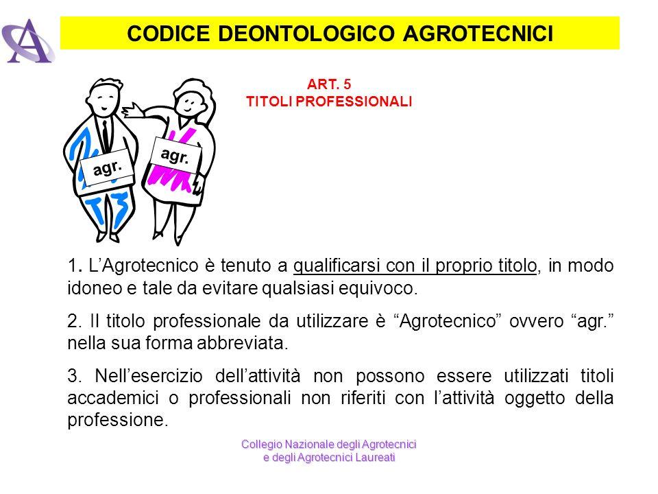 CODICE DEONTOLOGICO AGROTECNICI ART. 5 TITOLI PROFESSIONALI 1. LAgrotecnico è tenuto a qualificarsi con il proprio titolo, in modo idoneo e tale da ev