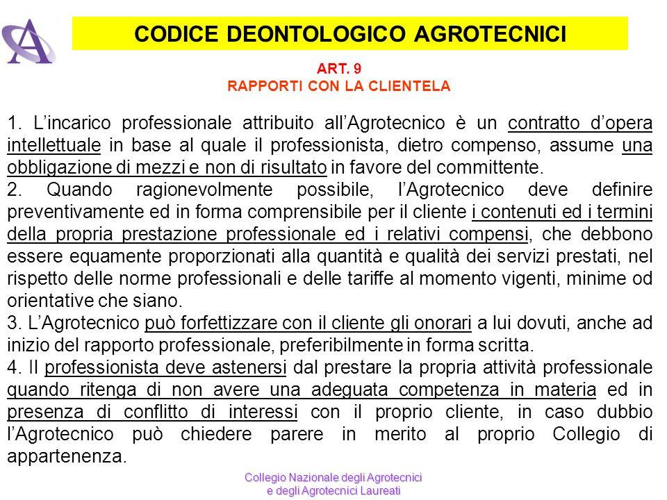 CODICE DEONTOLOGICO AGROTECNICI ART. 9 RAPPORTI CON LA CLIENTELA Collegio Nazionale degli Agrotecnici e degli Agrotecnici Laureati 1. Lincarico profes