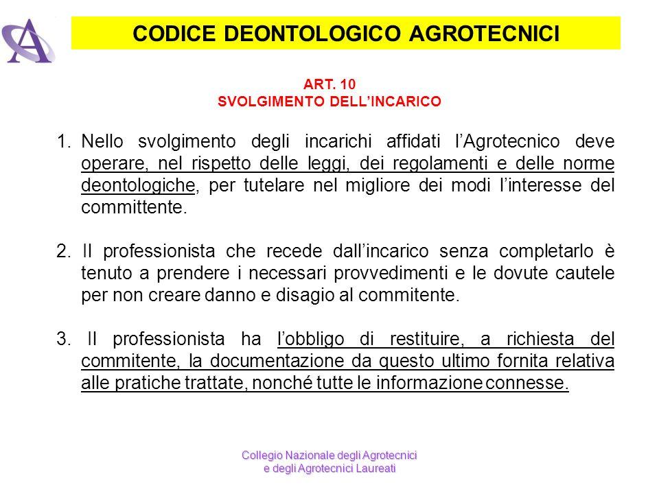 CODICE DEONTOLOGICO AGROTECNICI ART. 10 SVOLGIMENTO DELLINCARICO Collegio Nazionale degli Agrotecnici e degli Agrotecnici Laureati 1.Nello svolgimento