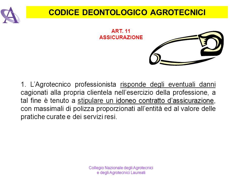 CODICE DEONTOLOGICO AGROTECNICI ART. 11 ASSICURAZIONE idoneo contratto dassicurazione 1. LAgrotecnico professionista risponde degli eventuali danni ca