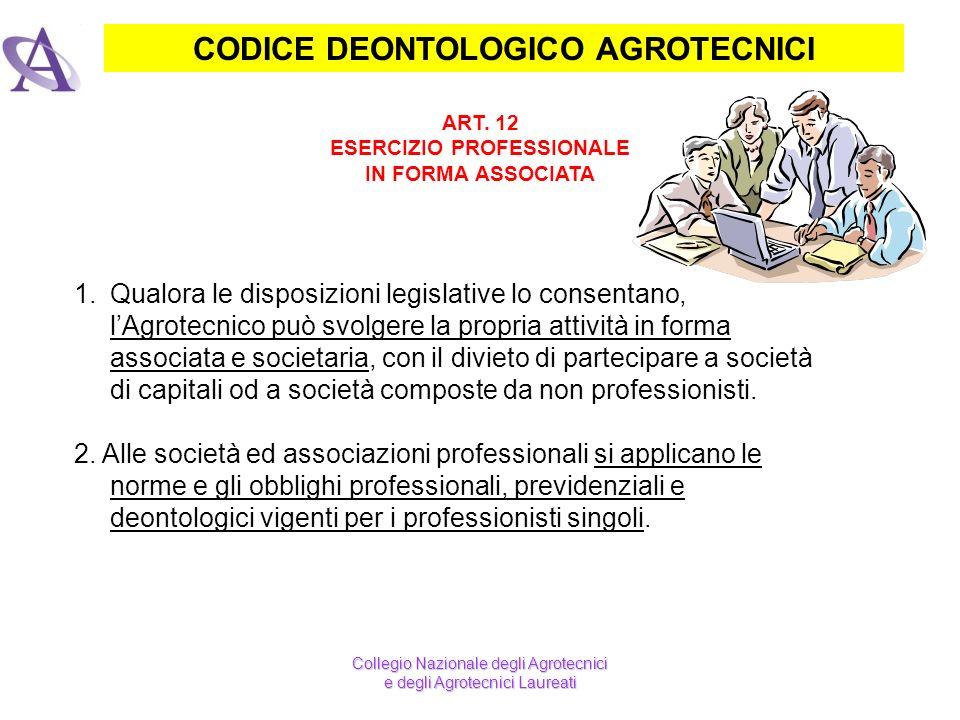 CODICE DEONTOLOGICO AGROTECNICI ART. 12 ESERCIZIO PROFESSIONALE IN FORMA ASSOCIATA Collegio Nazionale degli Agrotecnici e degli Agrotecnici Laureati 1