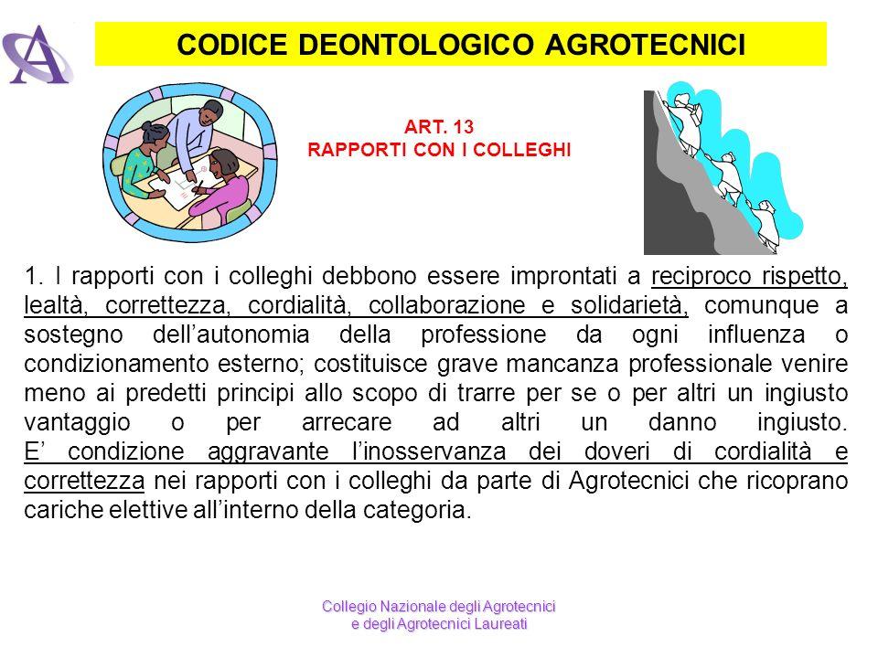 CODICE DEONTOLOGICO AGROTECNICI ART. 13 RAPPORTI CON I COLLEGHI 1. I rapporti con i colleghi debbono essere improntati a reciproco rispetto, lealtà, c