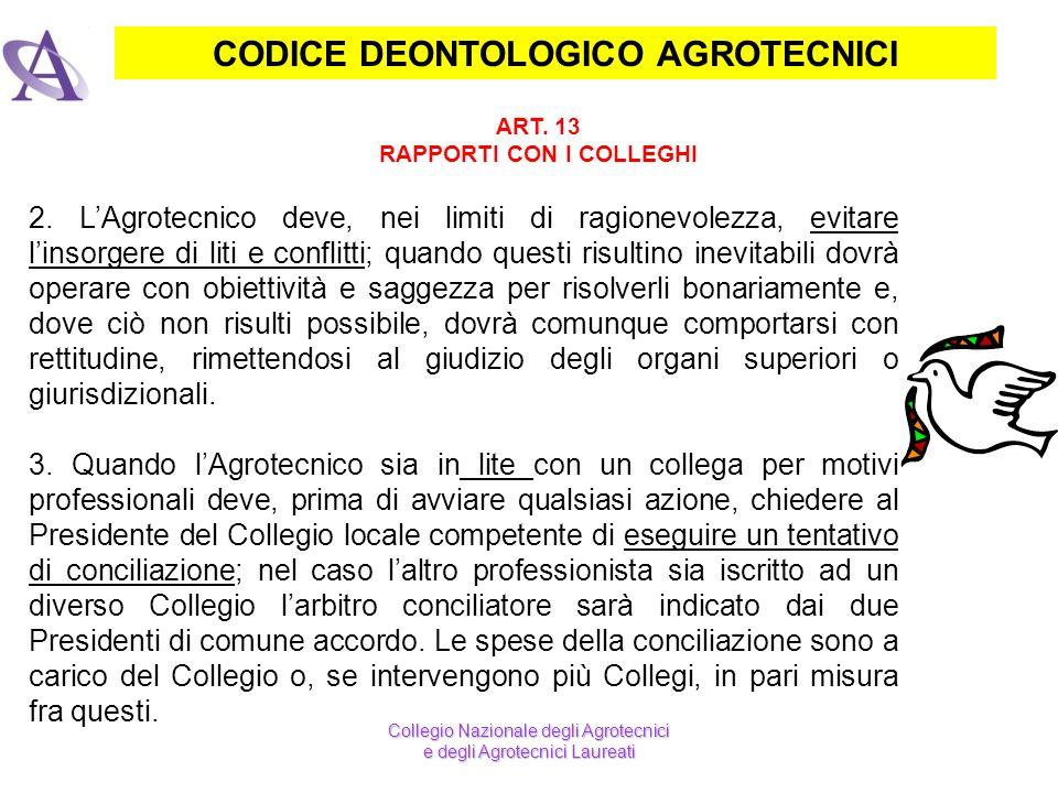CODICE DEONTOLOGICO AGROTECNICI ART. 13 RAPPORTI CON I COLLEGHI Collegio Nazionale degli Agrotecnici e degli Agrotecnici Laureati 2. LAgrotecnico deve