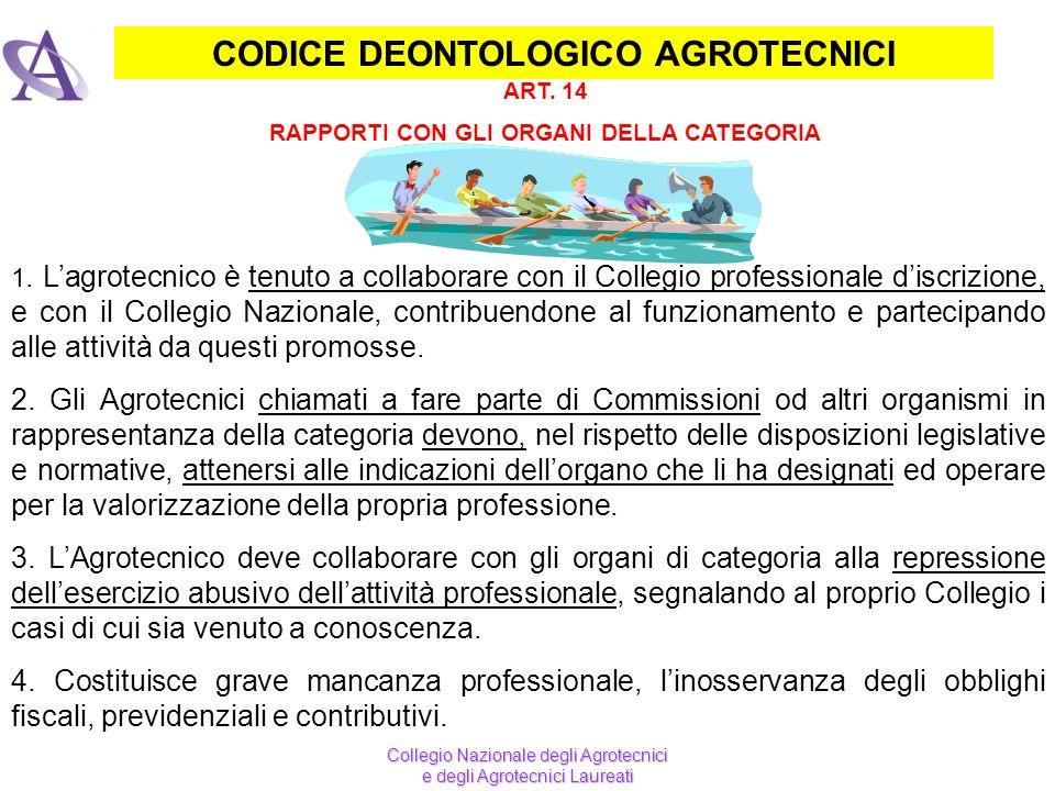 CODICE DEONTOLOGICO AGROTECNICI 1. Lagrotecnico è tenuto a collaborare con il Collegio professionale discrizione, e con il Collegio Nazionale, contrib
