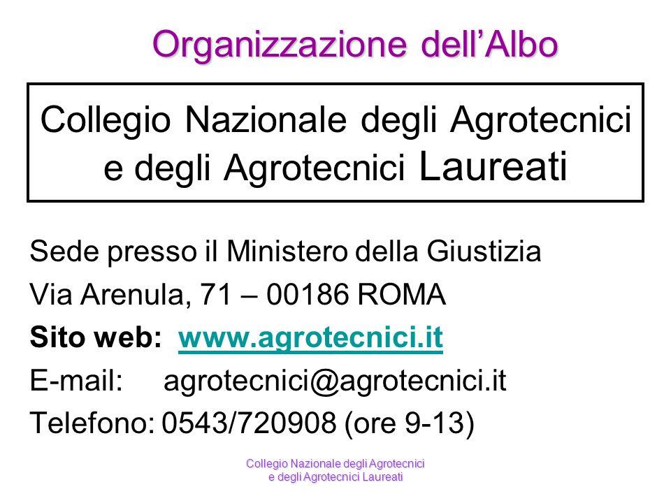 Collegio Nazionale degli Agrotecnici e degli Agrotecnici Laureati Sede presso il Ministero della Giustizia Via Arenula, 71 – 00186 ROMA Sito web: www.