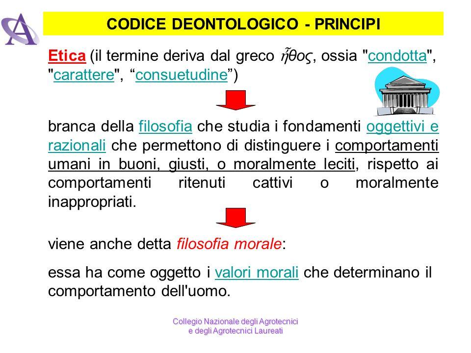 CODICE DEONTOLOGICO - PRINCIPI branca della filosofia che studia i fondamenti oggettivi e razionali che permettono di distinguere i comportamenti uman