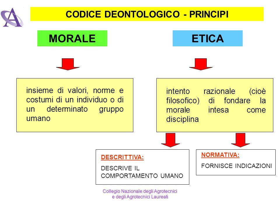 CODICE DEONTOLOGICO - PRINCIPI ETICAMORALE intento razionale (cioè filosofico) di fondare la morale intesa come disciplina insieme di valori, norme e