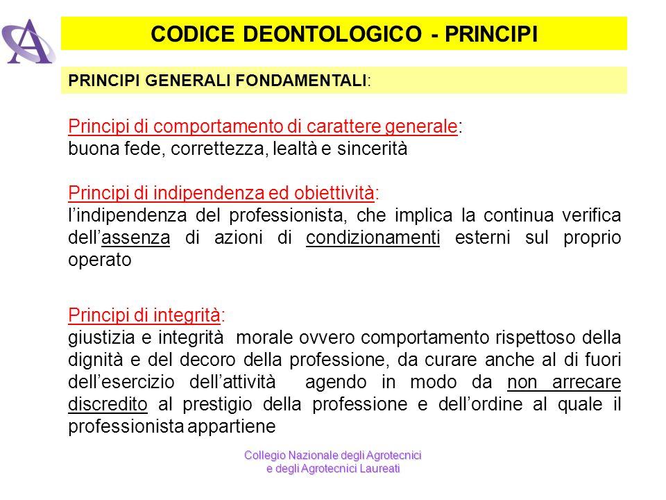 CODICE DEONTOLOGICO - PRINCIPI PRINCIPI GENERALI FONDAMENTALI: Principi di comportamento di carattere generale: buona fede, correttezza, lealtà e sinc