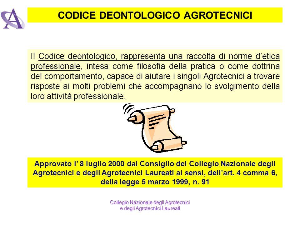CODICE DEONTOLOGICO AGROTECNICI Il Codice deontologico, rappresenta una raccolta di norme detica professionale, intesa come filosofia della pratica o