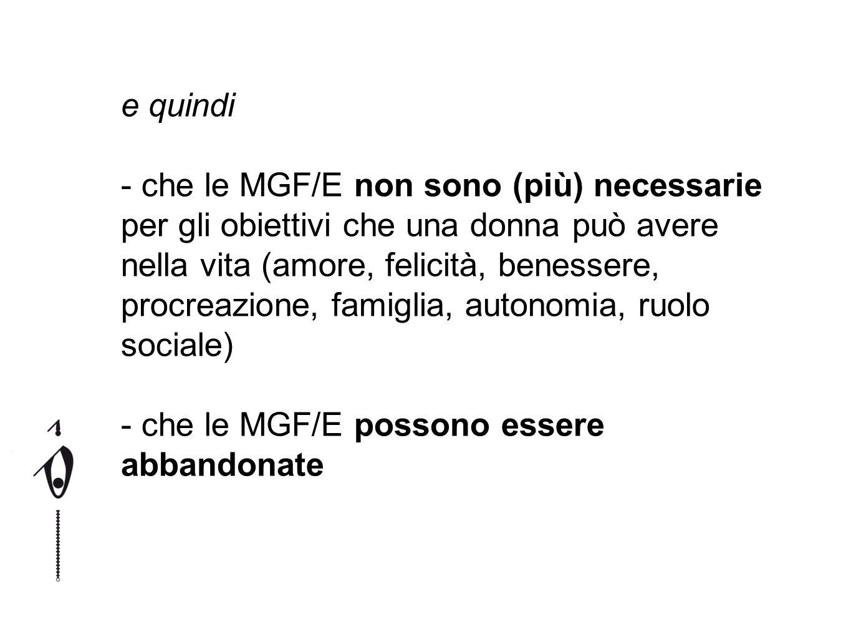 e quindi - che le MGF/E non sono (più) necessarie per gli obiettivi che una donna può avere nella vita (amore, felicità, benessere, procreazione, fami