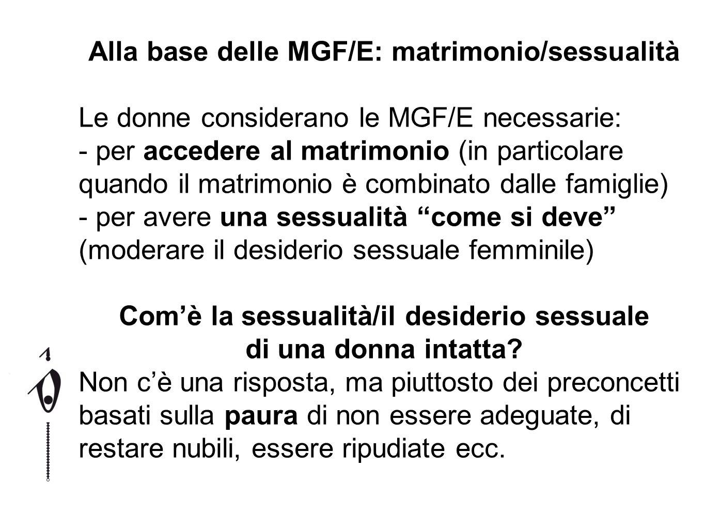 Alla base delle MGF/E: matrimonio/sessualità Le donne considerano le MGF/E necessarie: - per accedere al matrimonio (in particolare quando il matrimon