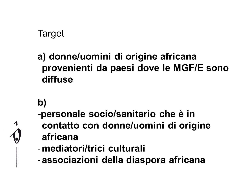 Target a) donne/uomini di origine africana provenienti da paesi dove le MGF/E sono diffuse b) -personale socio/sanitario che è in contatto con donne/u
