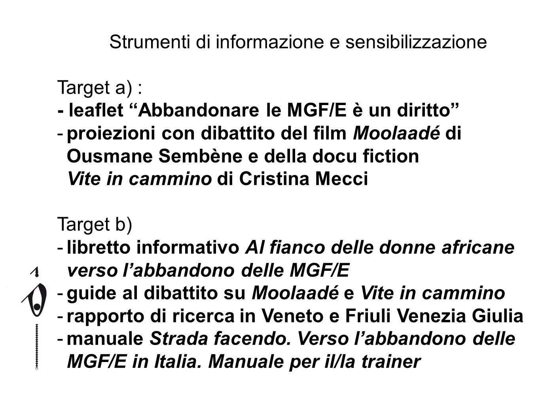 Strumenti di informazione e sensibilizzazione Target a) : - leaflet Abbandonare le MGF/E è un diritto -proiezioni con dibattito del film Moolaadé di O
