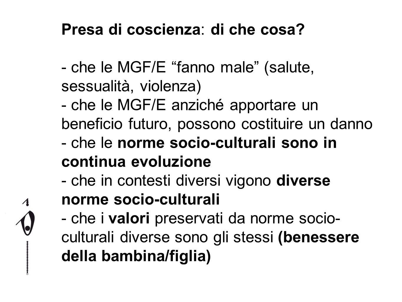 e quindi - che le MGF/E non sono (più) necessarie per gli obiettivi che una donna può avere nella vita (amore, felicità, benessere, procreazione, famiglia, autonomia, ruolo sociale) - che le MGF/E possono essere abbandonate