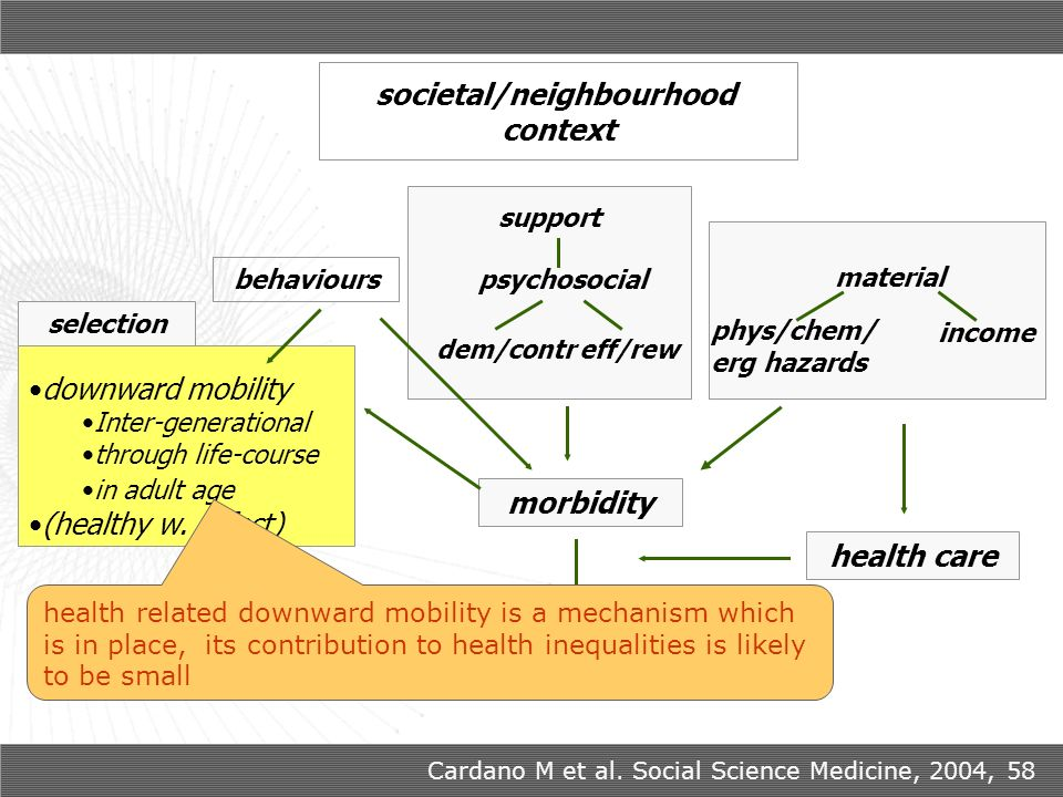 downward mobility Inter-generational through life-course in adult age (healthy w. effect) material morbidity health care outcomes behaviours support p