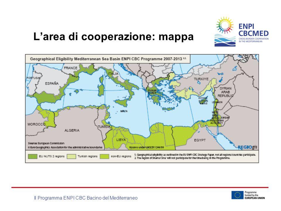 Il Programma ENPI CBC Bacino del Mediterraneo Larea di cooperazione: mappa