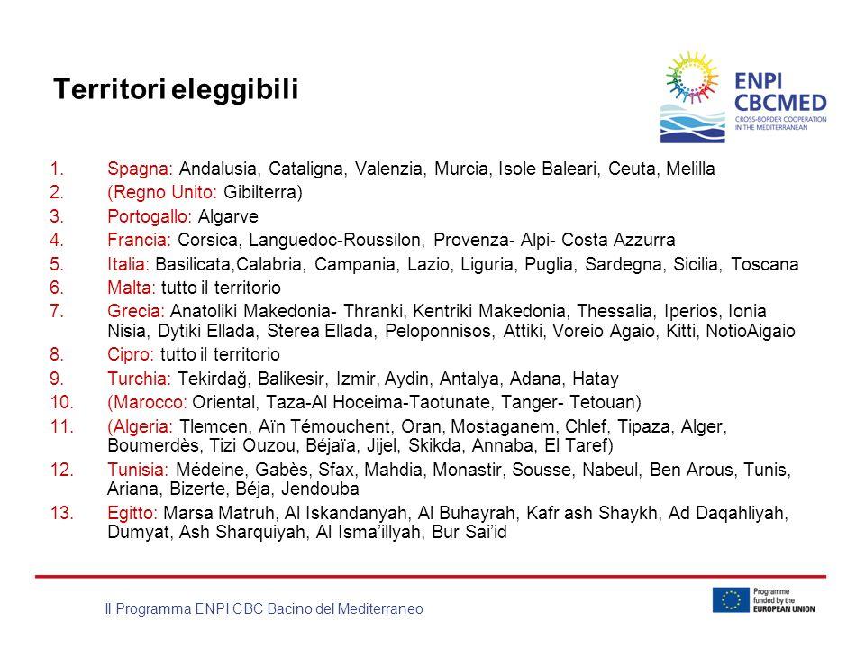 Il Programma ENPI CBC Bacino del Mediterraneo Territori eleggibili 1.Spagna: Andalusia, Cataligna, Valenzia, Murcia, Isole Baleari, Ceuta, Melilla 2.(