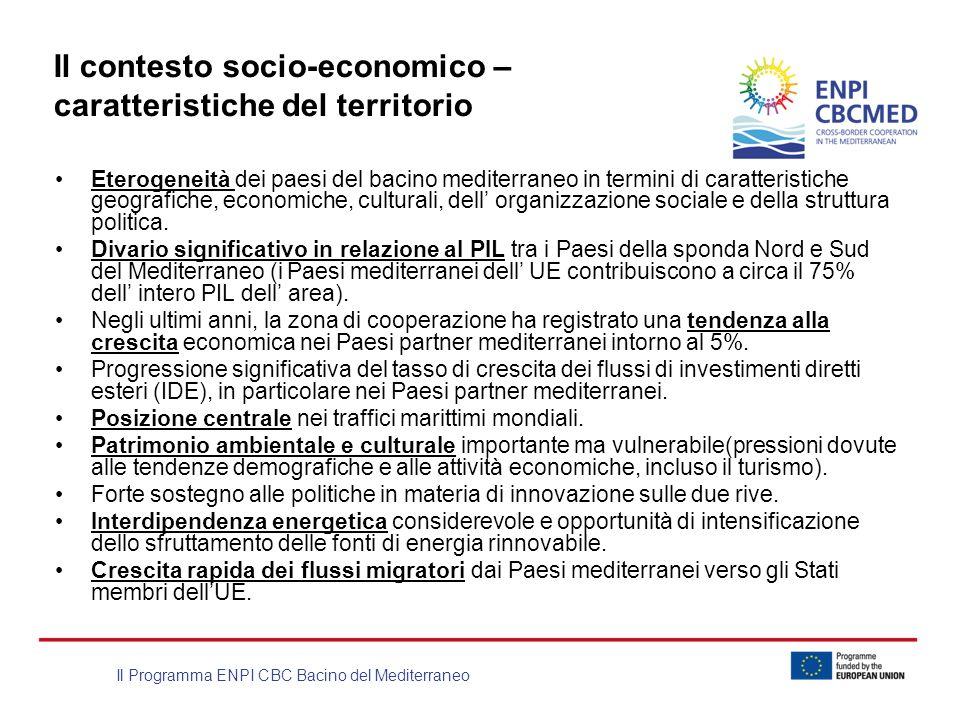 Il Programma ENPI CBC Bacino del Mediterraneo Il contesto socio-economico – caratteristiche del territorio Eterogeneità dei paesi del bacino mediterra