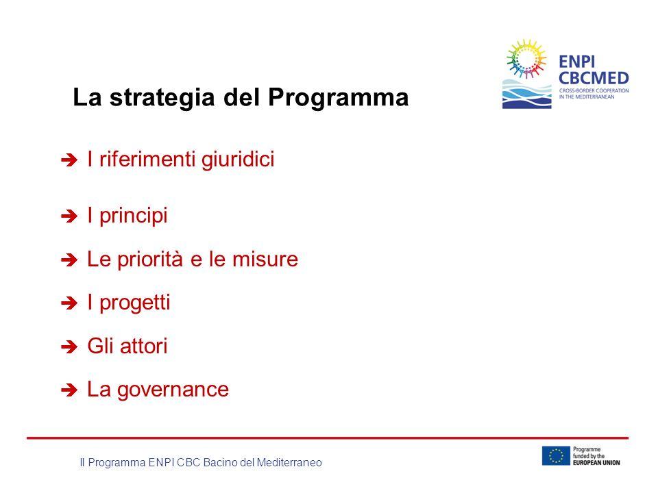 Il Programma ENPI CBC Bacino del Mediterraneo La strategia del Programma I riferimenti giuridici I principi Le priorità e le misure I progetti Gli att