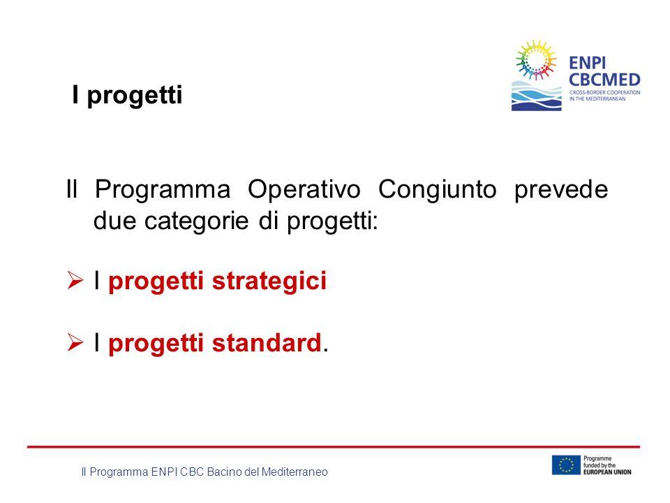 Il Programma ENPI CBC Bacino del Mediterraneo Il Programma Operativo Congiunto prevede due categorie di progetti: I progetti strategici I progetti sta
