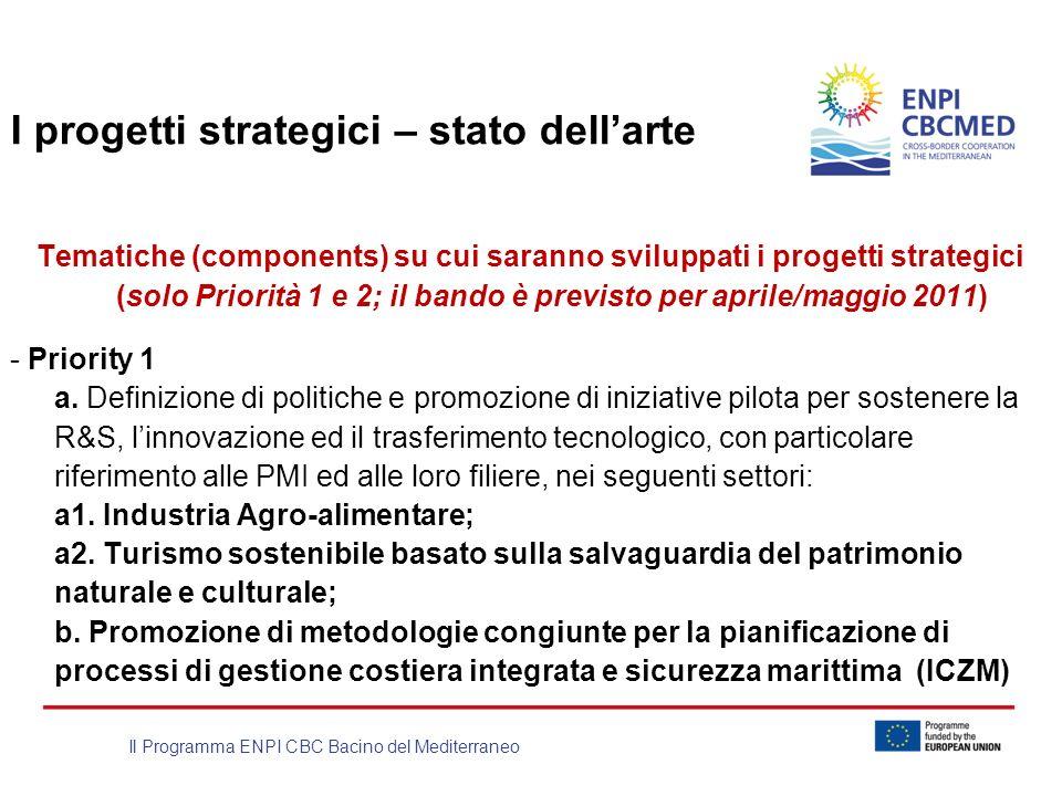 Il Programma ENPI CBC Bacino del Mediterraneo I progetti strategici – stato dellarte Tematiche (components) su cui saranno sviluppati i progetti strat