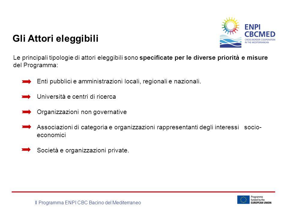 Il Programma ENPI CBC Bacino del Mediterraneo Gli Attori eleggibili Le principali tipologie di attori eleggibili sono specificate per le diverse prior