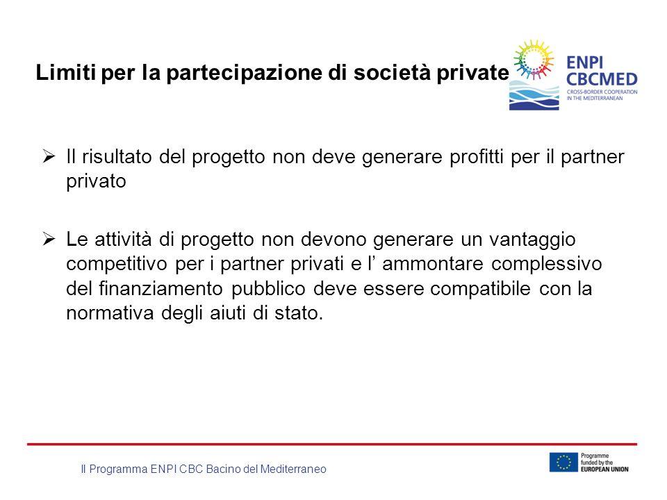 Il Programma ENPI CBC Bacino del Mediterraneo Limiti per la partecipazione di società private Il risultato del progetto non deve generare profitti per