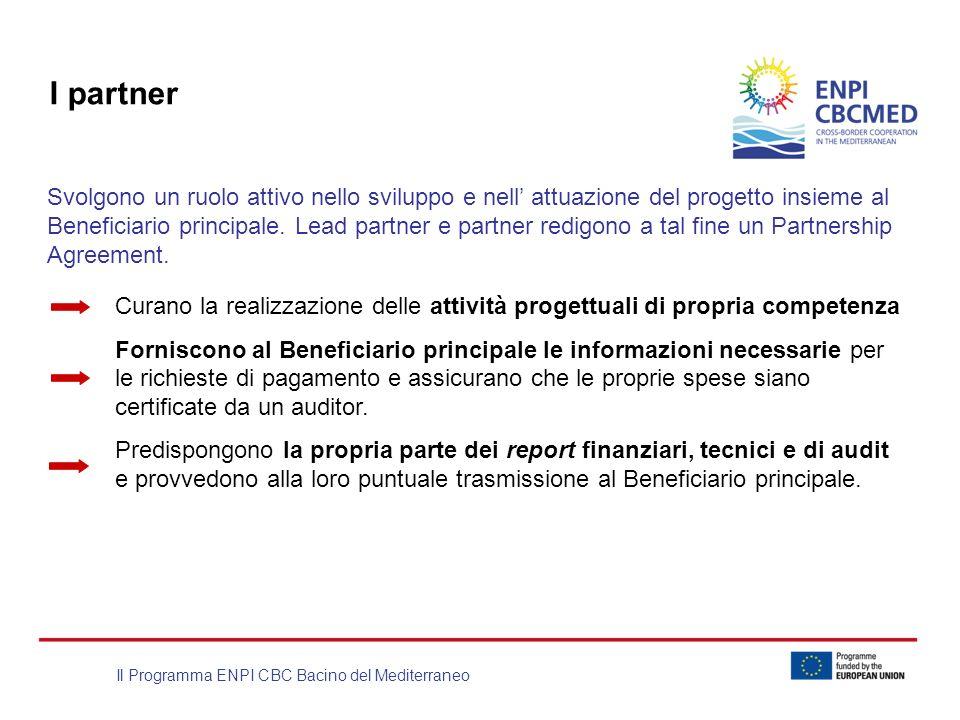 Il Programma ENPI CBC Bacino del Mediterraneo I partner Svolgono un ruolo attivo nello sviluppo e nell attuazione del progetto insieme al Beneficiario