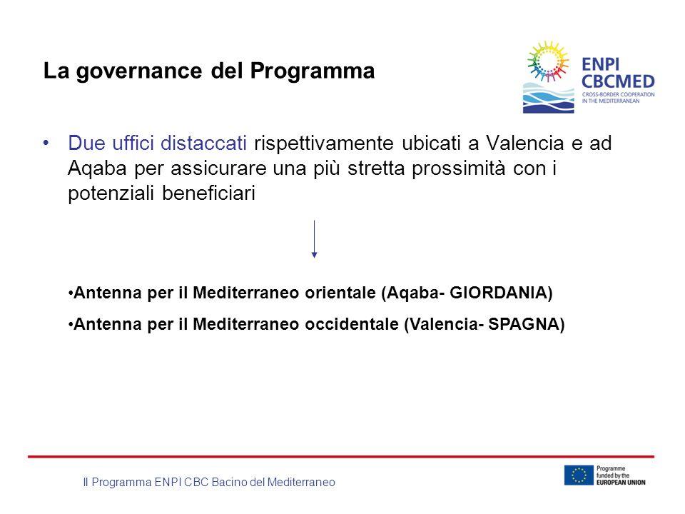 Il Programma ENPI CBC Bacino del Mediterraneo La governance del Programma Due uffici distaccati rispettivamente ubicati a Valencia e ad Aqaba per assi