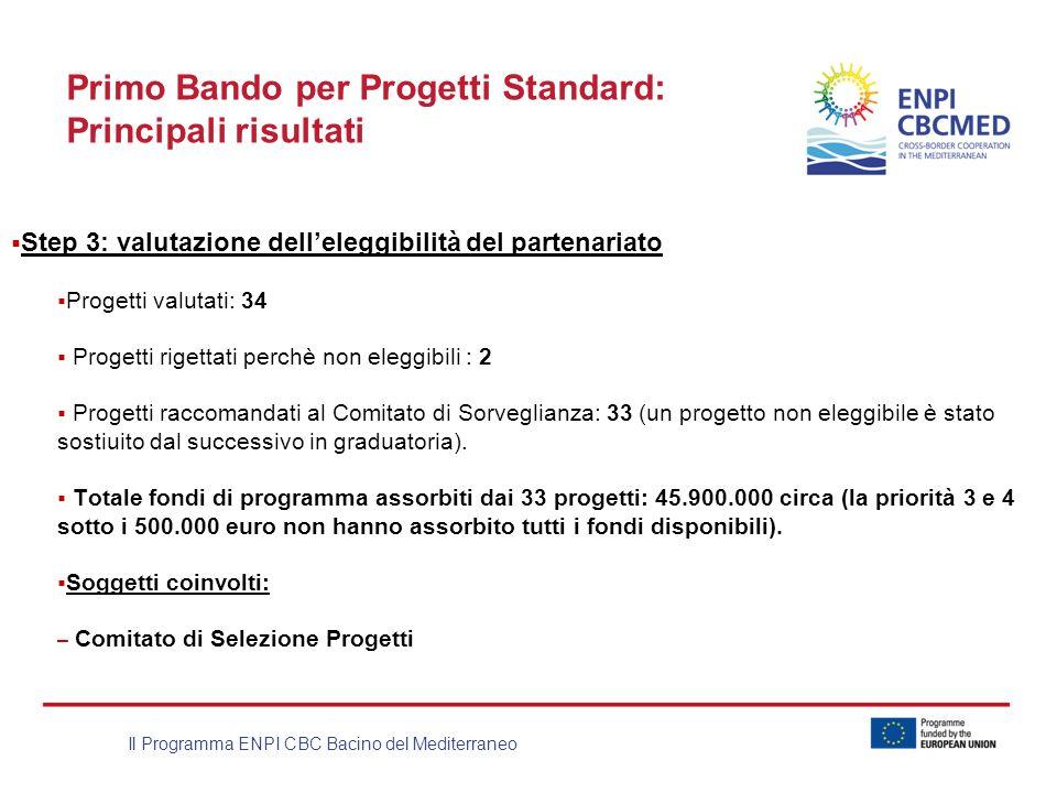 Il Programma ENPI CBC Bacino del Mediterraneo Primo Bando per Progetti Standard: Principali risultati Step 3: valutazione delleleggibilità del partena