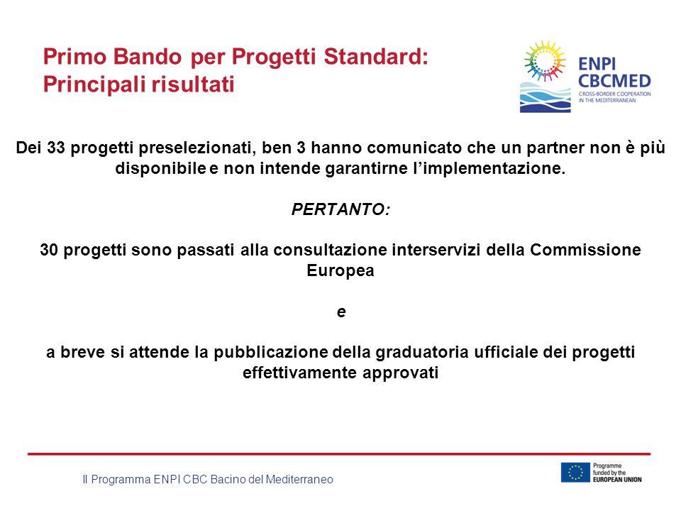 Il Programma ENPI CBC Bacino del Mediterraneo Primo Bando per Progetti Standard: Principali risultati Dei 33 progetti preselezionati, ben 3 hanno comu