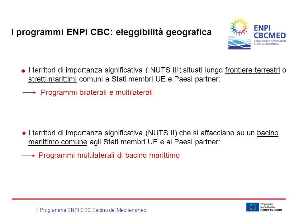 Il Programma ENPI CBC Bacino del Mediterraneo I programmi ENPI CBC: eleggibilità geografica I territori di importanza significativa ( NUTS III) situat