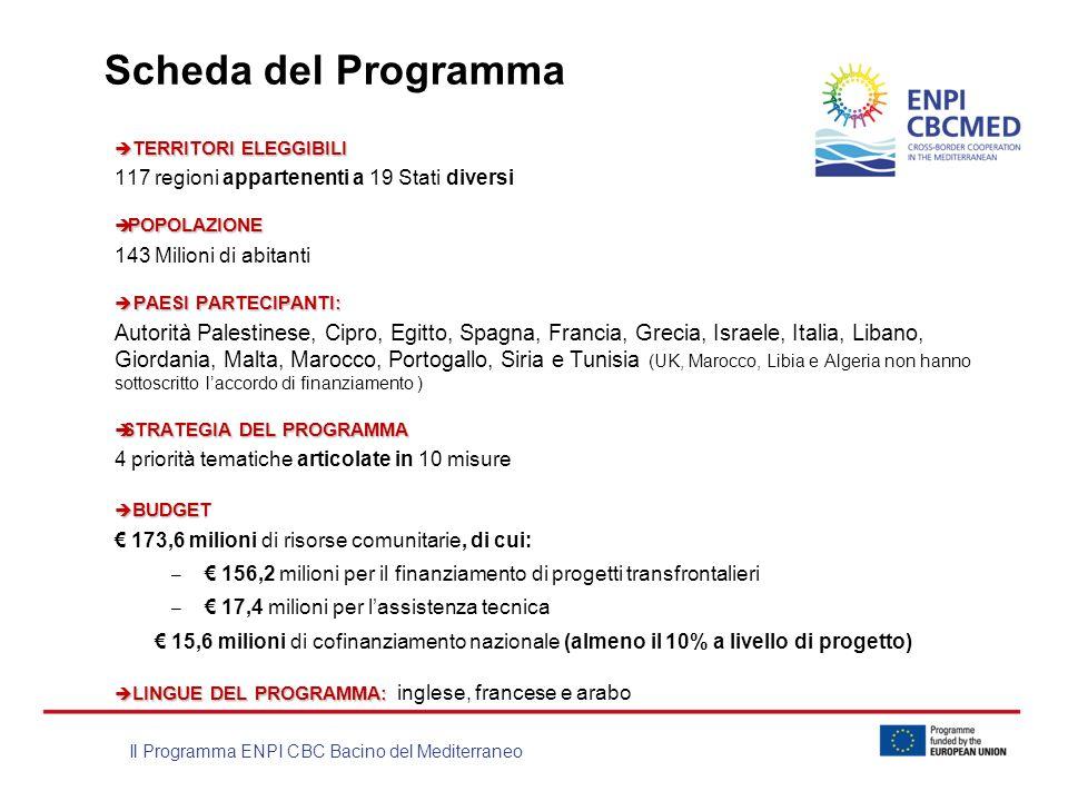 Il Programma ENPI CBC Bacino del Mediterraneo Scheda del Programma TERRITORI ELEGGIBILI TERRITORI ELEGGIBILI 117 regioni appartenenti a 19 Stati diver