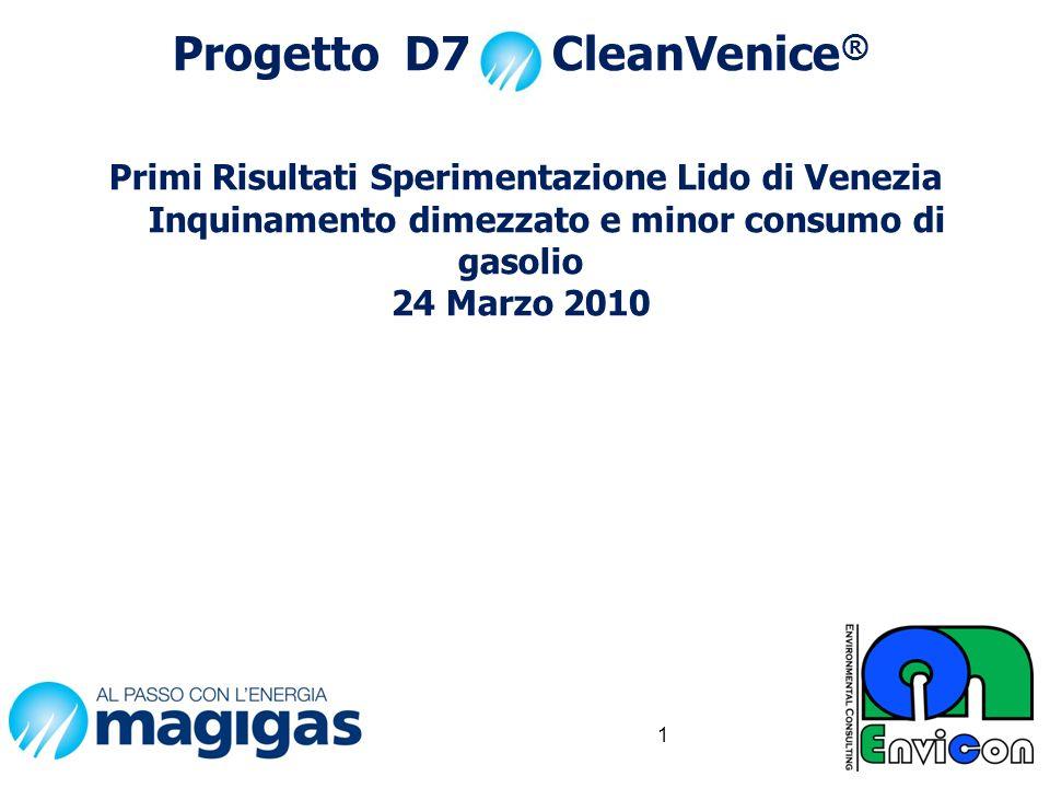 Progetto D7 CleanVenice ® Primi Risultati Sperimentazione Lido di Venezia Inquinamento dimezzato e minor consumo di gasolio 24 Marzo 2010 1