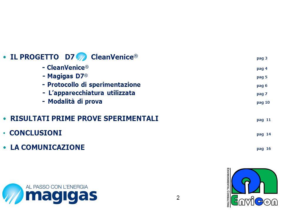 IL PROGETTO D7 CleanVenice ® pag 3 - CleanVenice ® pag 4 - Magigas D7 ® pag 5 - Protocollo di sperimentazione pag 6 - Lapparecchiatura utilizzata pag