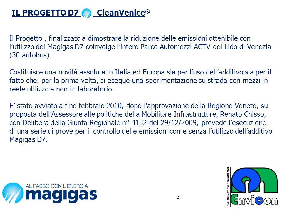 Il Progetto, finalizzato a dimostrare la riduzione delle emissioni ottenibile con lutilizzo del Magigas D7 coinvolge lintero Parco Automezzi ACTV del