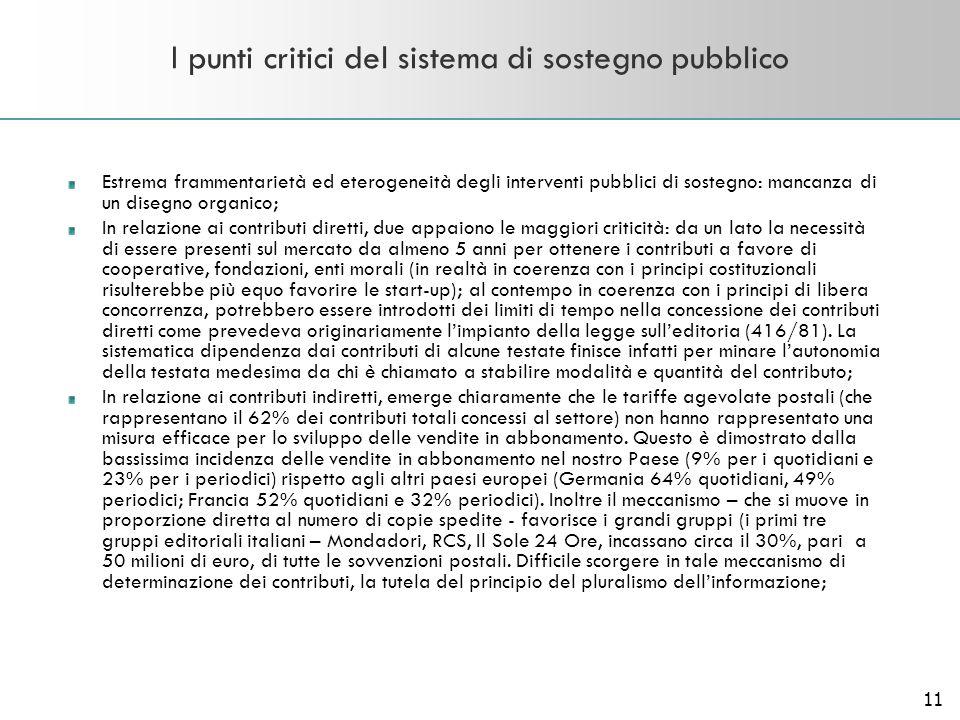 11 I punti critici del sistema di sostegno pubblico Estrema frammentarietà ed eterogeneità degli interventi pubblici di sostegno: mancanza di un diseg