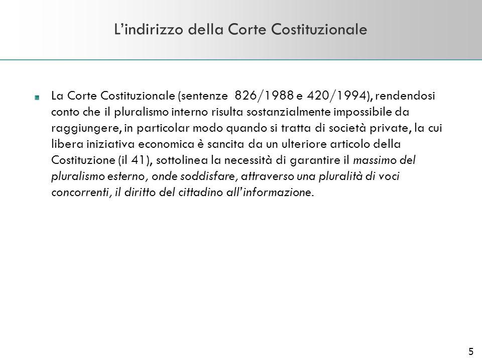 5 Lindirizzo della Corte Costituzionale La Corte Costituzionale (sentenze 826/1988 e 420/1994), rendendosi conto che il pluralismo interno risulta sos