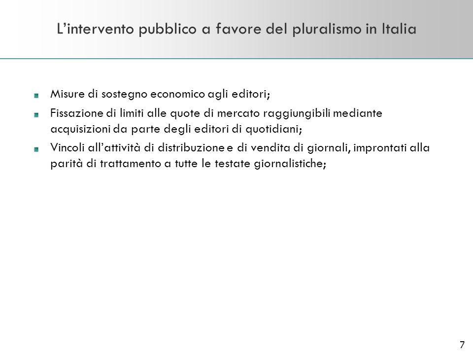 7 Lintervento pubblico a favore del pluralismo in Italia Misure di sostegno economico agli editori; Fissazione di limiti alle quote di mercato raggiun