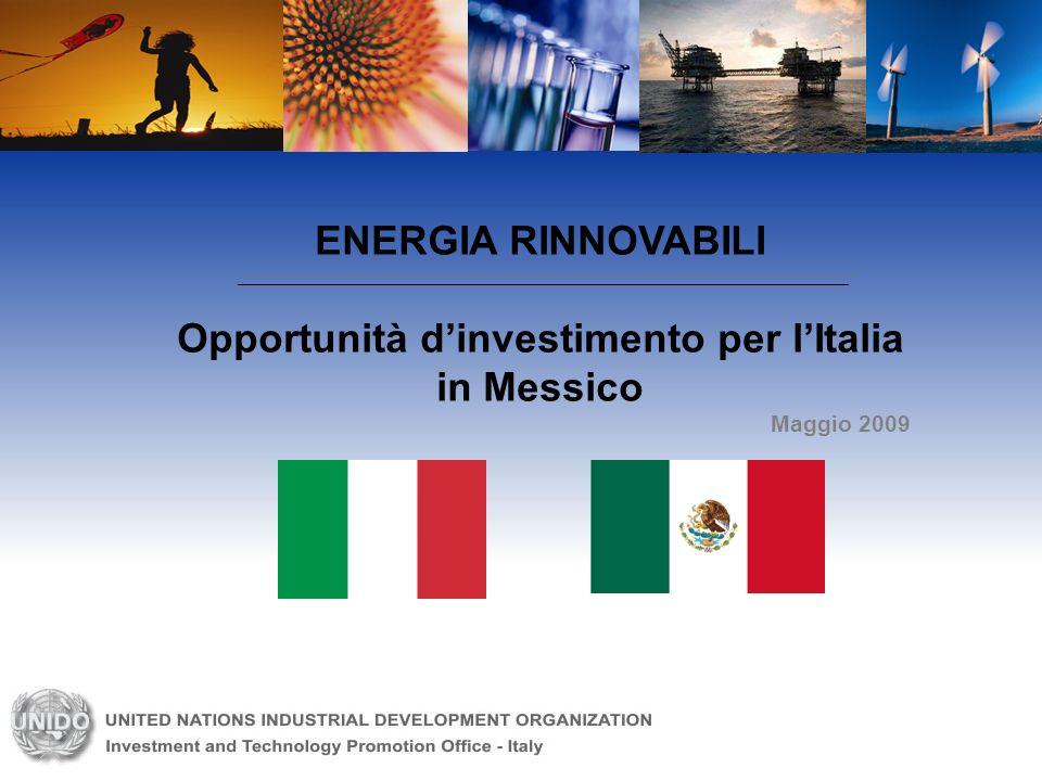 ENERGIA RINNOVABILI Opportunità dinvestimento per lItalia in Messico Maggio 2009