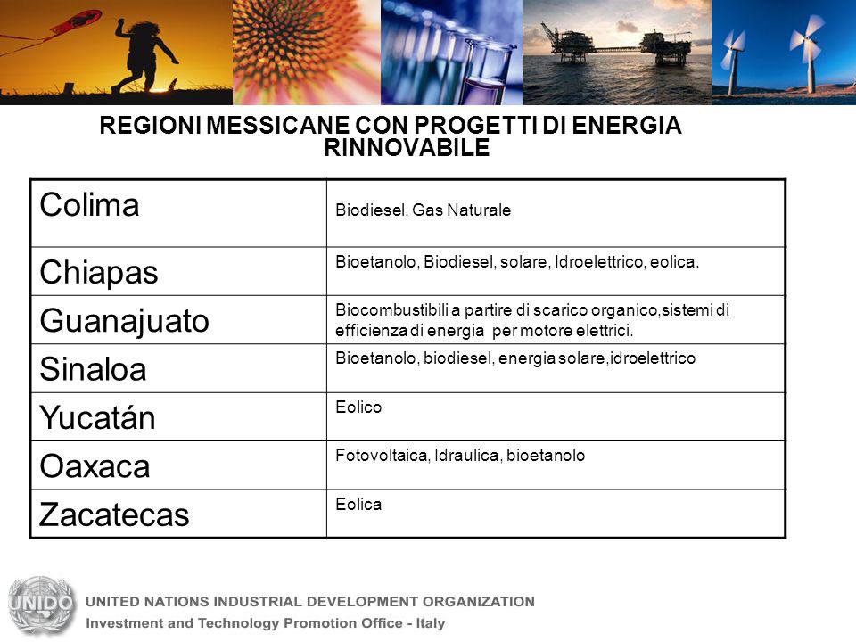 REGIONI MESSICANE CON PROGETTI DI ENERGIA RINNOVABILE Colima Biodiesel, Gas Naturale Chiapas Bioetanolo, Biodiesel, solare, Idroelettrico, eolica. Gua