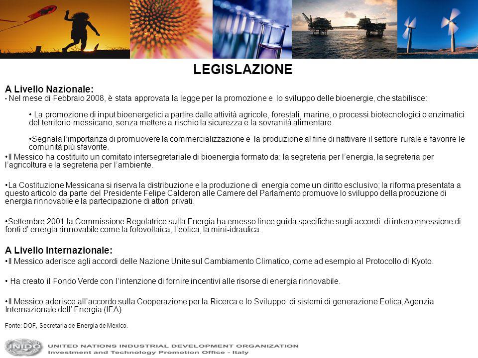 A Livello Nazionale: Nel mese di Febbraio 2008, è stata approvata la legge per la promozione e lo sviluppo delle bioenergie, che stabilisce: La promoz