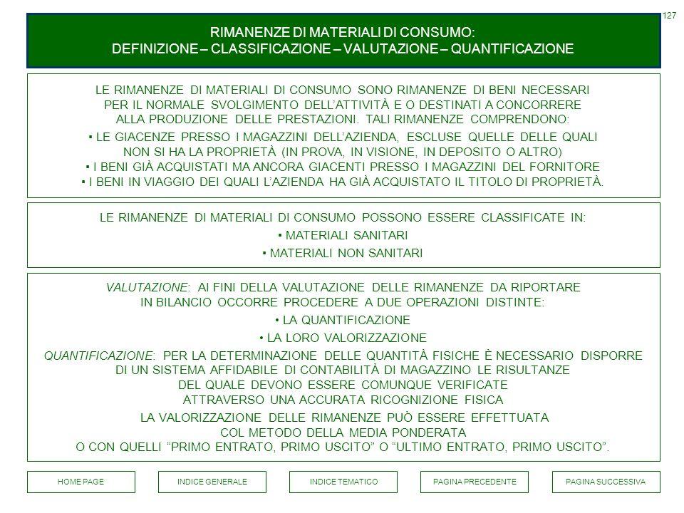 RIMANENZE DI MATERIALI DI CONSUMO: DEFINIZIONE – CLASSIFICAZIONE – VALUTAZIONE – QUANTIFICAZIONE LE RIMANENZE DI MATERIALI DI CONSUMO SONO RIMANENZE D