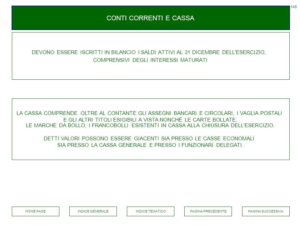 CONTI CORRENTI E CASSA DEVONO ESSERE ISCRITTI IN BILANCIO I SALDI ATTIVI AL 31 DICEMBRE DELL'ESERCIZIO, COMPRENSIVI DEGLI INTERESSI MATURATI LA CASSA