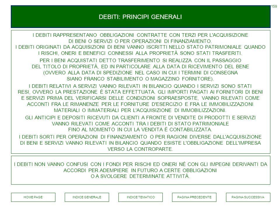 DEBITI: PRINCIPI GENERALI I DEBITI RAPPRESENTANO OBBLIGAZIONI CONTRATTE CON TERZI PER L'ACQUISIZIONE DI BENI O SERVIZI O PER OPERAZIONI DI FINANZIAMEN