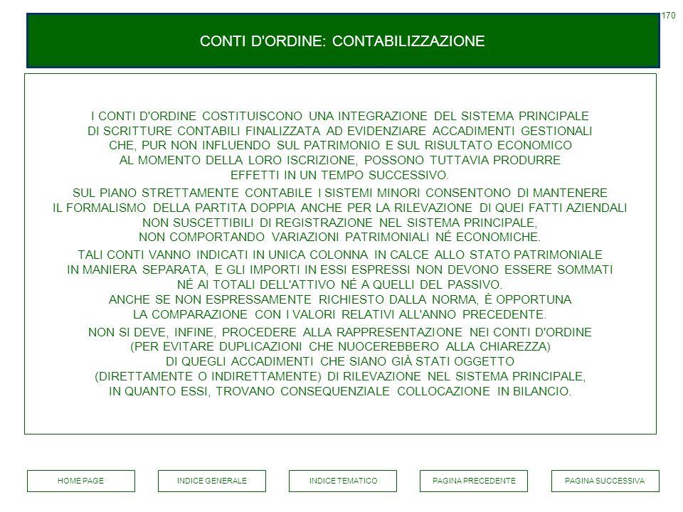 CONTI D'ORDINE: CONTABILIZZAZIONE I CONTI D'ORDINE COSTITUISCONO UNA INTEGRAZIONE DEL SISTEMA PRINCIPALE DI SCRITTURE CONTABILI FINALIZZATA AD EVIDENZ