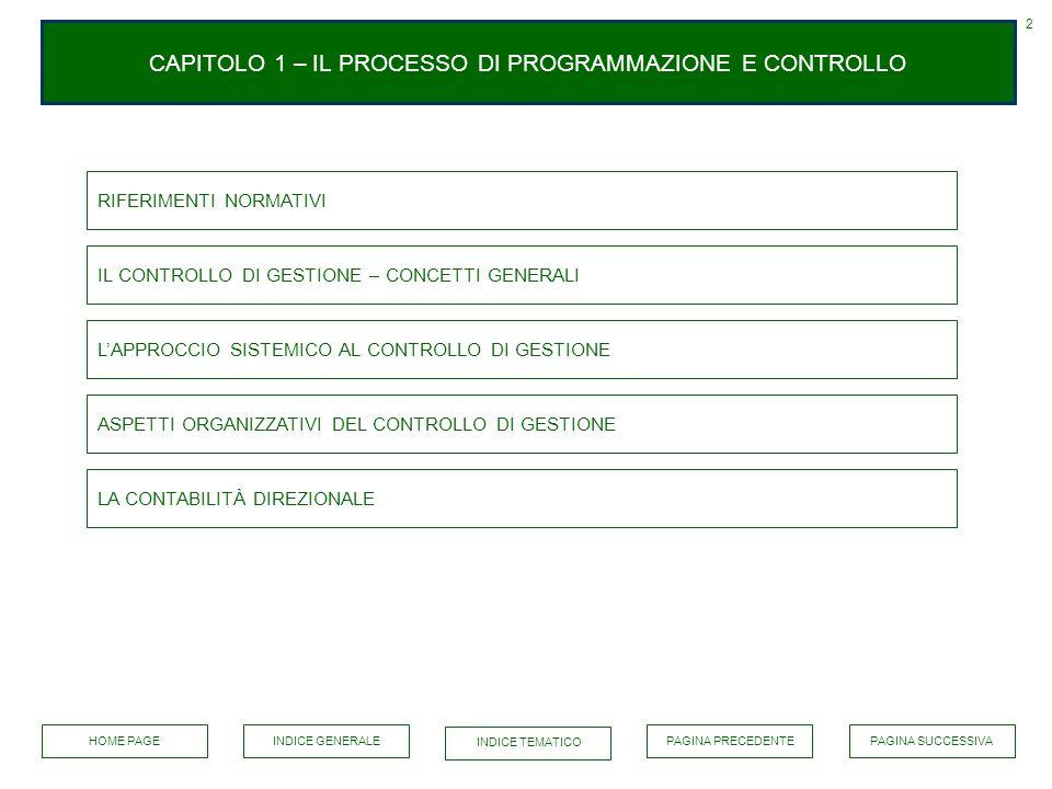 CAPITOLO 1 – IL PROCESSO DI PROGRAMMAZIONE E CONTROLLO 2 RIFERIMENTI NORMATIVI IL CONTROLLO DI GESTIONE – CONCETTI GENERALI LAPPROCCIO SISTEMICO AL CO